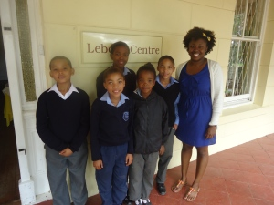 Me with some of my children at the Lebone Centre